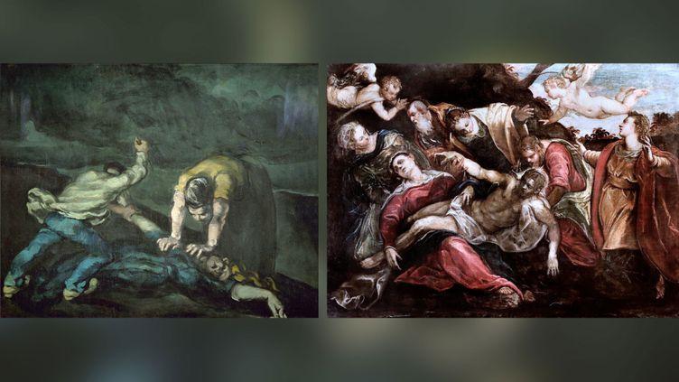 """A gauche, Paul Cezanne, """"Le Meurtre"""", Vers 1870, Liverpool, National Museums, Liverpool, Walker Art Gallery. Acquis avec l'aide de l'Art Fund en 1964 - A droite,Jacopo Robusti, dit le Tintoret, """"La Déploration du Christ"""",Vers 1580, Paris, musée du Louvre, déposéau musée des beaux-arts de Nancy (A gauche © National Museums Liverpool, Walker Art Gallery - A droite © RMN-Grand Palais / Agence Bulloz)"""