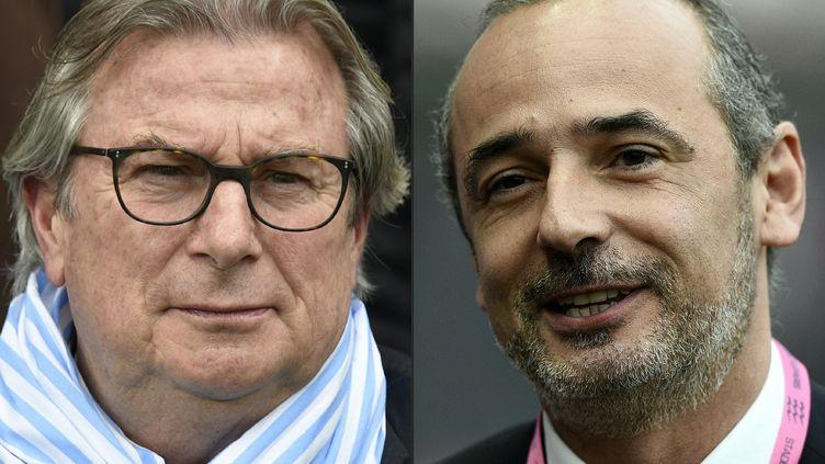 Jacky Lorenzetti, à gauche, et Thomas Savare, à droite, les deux présidents hier rivaux mais demain main dans la main (PASCAL PAVANI,FRANCK FIFE / AFP)