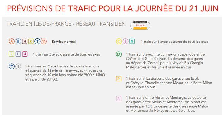 Un mouvement social local perturbe le trafic en Ile-de-France, lundi 21 juin 2021. (SNCF)