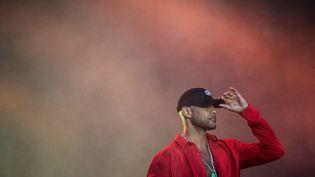 Le rappeur Booba, le 18 juillet 2019 à Carhaix-Plouger (Finistère). (LOIC VENANCE / AFP)