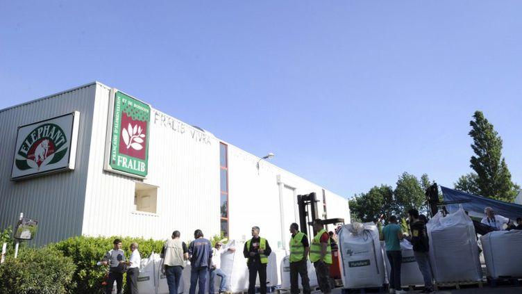 Des salariés de l'usine Fralib de Gémenos (Bouches-du-Rhône) occupent le site, le 11 mai 2012. (BORIS HORVAT / AFP)