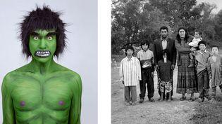 """A gauche, Juan Pablo Echeverrí, """"Hulk, série Supersonas"""", 2011, avec l'aimable autorisation de l'artiste - A droite, Mathieu Pernot, """"Famille Gorgan, Arles, 1995"""". Avec l'aimable autorisation de la galerie Eric Dupont  (Rencontres d'Arles)"""