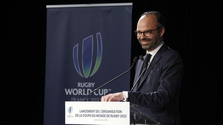 Le Premier ministre, Edouard Philippe, lors de son discours sur l'organisation de la Coupe du monde de rugby 2023, au Stade de France à Saint-Denis (Seine-Saint-Denis), le 10 mars 2018. (FRANCOIS MORI / AFP)