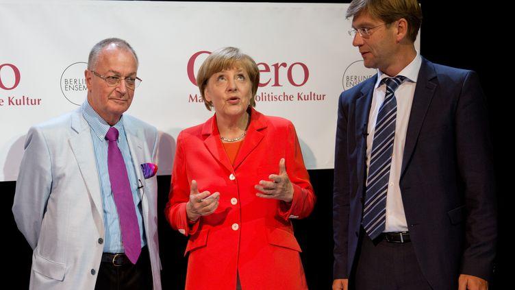 La chancelière allemande,Angela Merkel, le 27 août 2014 à Berlin. (JORG CARSTENSEN / DPA / AFP)