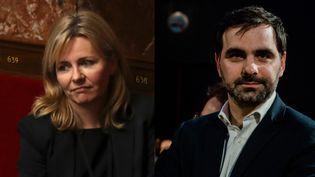 La députée LREM Emilie Cariou à l'Assemblée nationale à Paris, le 9 août 2017, et son homologue Laurent Saint-Martin lors d'un meeting LREM à Chartres (Eure-et-Loir), le 10 mars 2019. (KARINE PIERRE / HANS LUCAS / AFP)