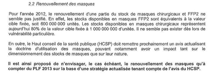 Extrait d'une note confidentielle de la Direction générale de la santé du 27 juillet 2011. (FRANCEINFO)