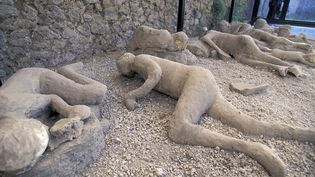 Des cadavres conservés dans les cendres du Vésuve, à Pompéi, en Italie. (ANA / ONLY WORLD / AFP)