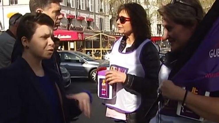 """Capture d'écran mars 2014,Stephanie Fugain de l'""""association Laurette Fugain"""", organise une collecte à Paris contre la leucémie (FRANCE 2 / FRANCETV INFO )"""