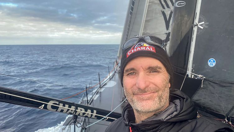 Jérémie Beyou sur son bateau Charal le 22 décembre 2020. (JEREMIE BEYOU / JEREMIE BEYOU)