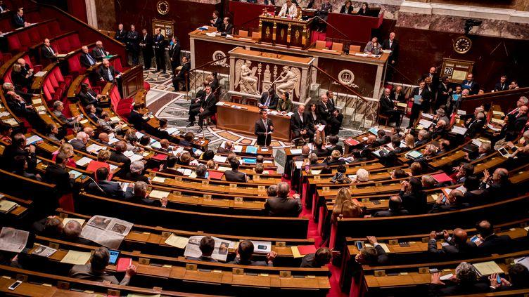 L'hémicycle de l'Assemblée nationale, à Paris, le 28 octobre 2015. (YANN KORBI / CITIZENSIDE.COM / AFP)