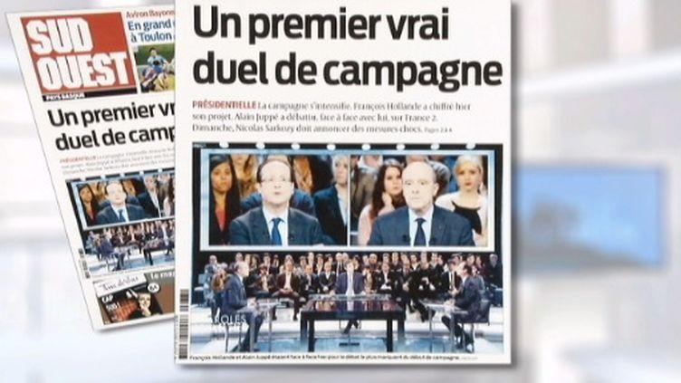 La Une de Sud-Ouest au lendemain du débat Juppé-Hollande (FranceTV)