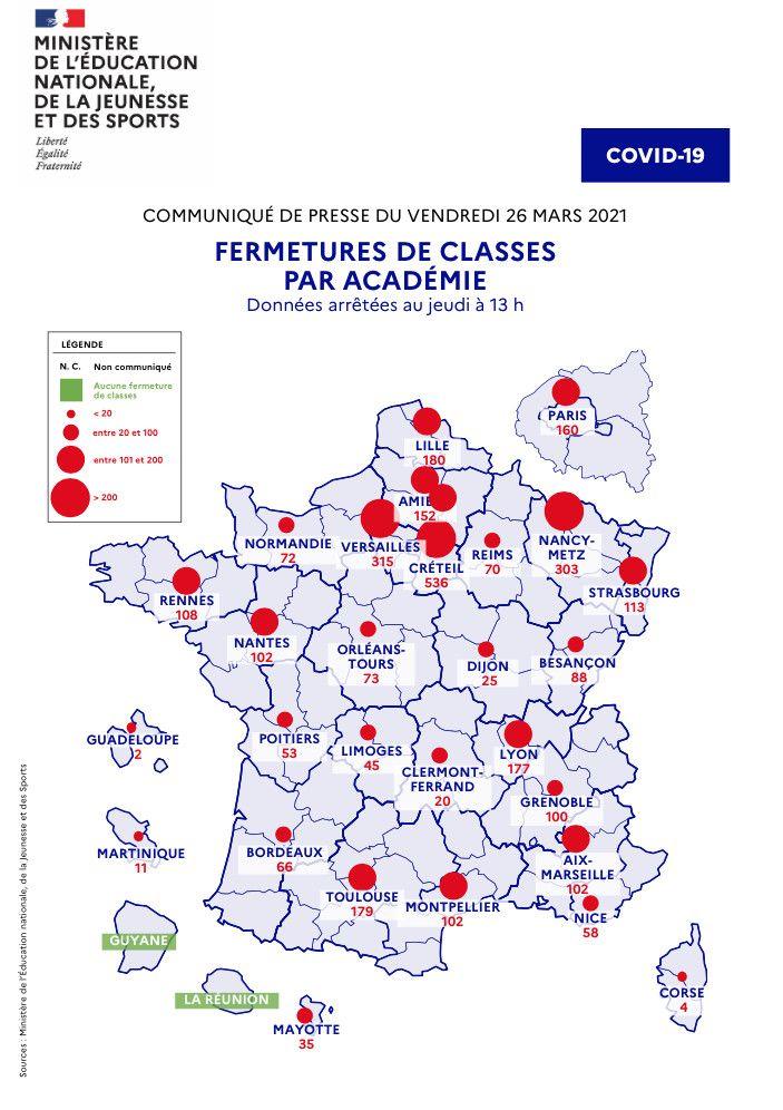 Les fermetures de classe par académie, selon une carte fournie par le ministère de l'Education nationale le 26 mars 2021. (MINISTERE DE L'EDUCATION NATIONALE)