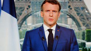Emmanuel Macron lors de son allocution du 12 juillet 2021, à Paris. (LUDOVIC MARIN / AFP)