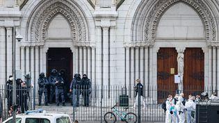 La basilique de Nice, où une attaque terroriste a eu lieu le 29 octobre 2020, faisant trois morts. (ARIE BOTBOL / HANS LUCAS / AFP)