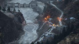 Des dégats causés par le glacier Nanda Devi sur une centrale hydroélectrique dans le district de Chamoli (Inde), le 9 février 2021. (RAJAT GUPTA / EPA / MAXPPP)