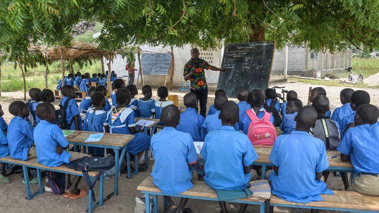 Un enseignant dirige sa classe sous un arbre à Moho, un village de la province du Nord au Cameroun, en septembre 2016.  (REINNIER KAZE / AFP)