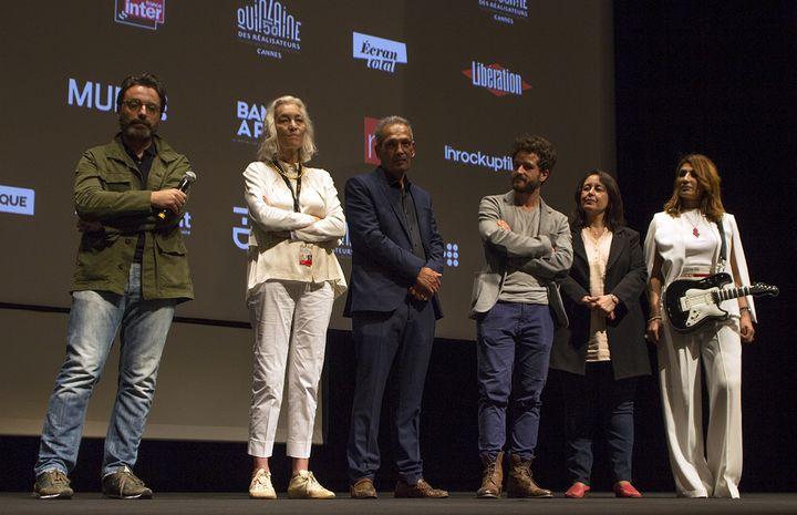 """L'équipe de """"Weldi, mon cher enfant"""" à la Quinzaine des Réalisateurs le 13 mai 2018 à Cannes.  (Jean-François Lixon)"""