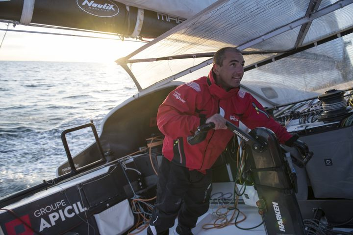 Le skipper Damien Seguin prendra le départ sur de la Route du Rhum 2018, dimanche 4 novembre. (RONAN GLADU - GROUPE APICIL)