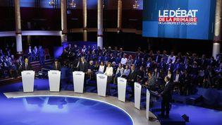 Plateau du débat de la primaire de la droite et du centre, le 3 novembre 2016, salle Wagram à Paris. (ARNAUD DUMONTIER / MAXPPP)