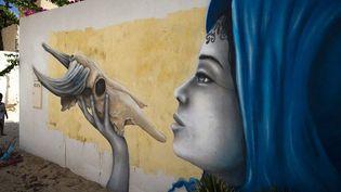 Une peinture murale de l'artiste français Liliwennà Erriadh (Tunisie)  (JOEL SAGET / AFP)
