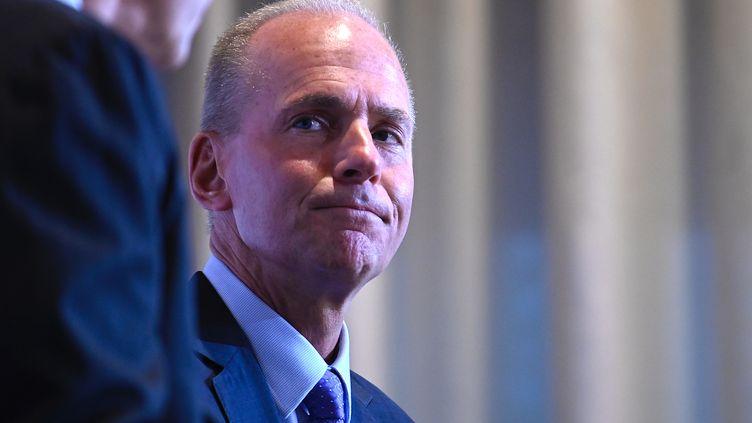 Dennis Muilenburg, patron démissionnaire de Boeing, le 2 octobre 2019 à New York (Etats-Unis). (JOHANNES EISELE / AFP)