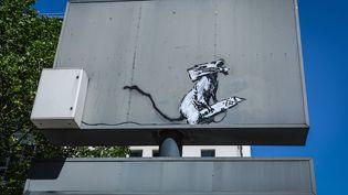 L'œuvre de l'artiste Banksy près du Centre Pompidou à Paris, volé en septembre 2019. (FREDERIC DUGIT / MAXPPP)