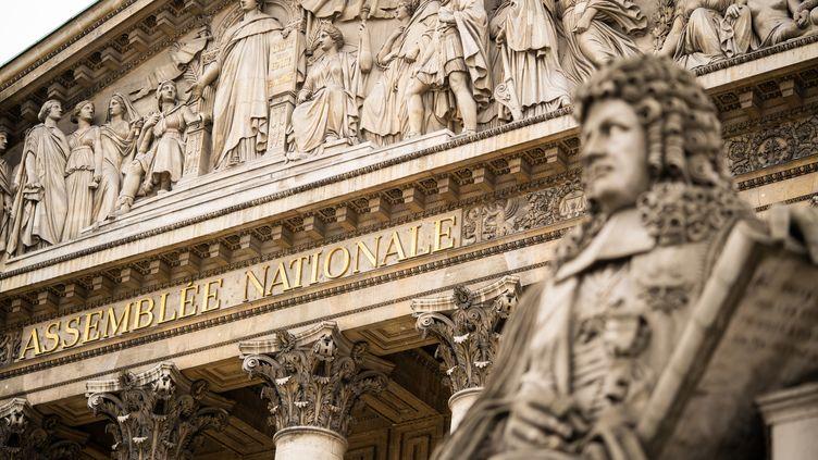 La façade de l'Assemblée nationale, où les députés examinent la réforme des retraites, le 23 février 2020. (XOSE BOUZAS / HANS LUCAS/AFP)
