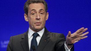 Le président candidat, en meeting à Cournon-d'Auvergne (Puy-de-Dôme), le 28 avril 2012. (ROBERT PRATTA / REUTERS)