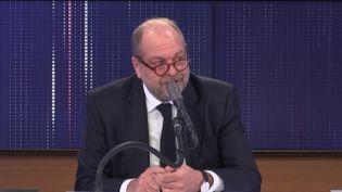 """Éric Dupond-Moretti, garde des Sceaux et ministre de la Justice, était l'invité du """"8h30 franceinfo"""", vendredi 5 février 2021. (FRANCEINFO / RADIOFRANCE)"""