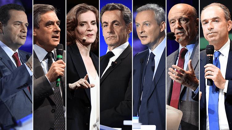 Les sept candidats à la primaire à droite : Jean-Frédéric Poisson, François Fillon, Nathalie Kosciusko-Morizet, Nicolas Sarkozy, Bruno Le Maire, Alain Juppé et Jean-François Copé.. (AFP)