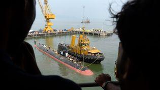 Arrivée fin octobre 2015 à Mumbai en Inde du premier sous-marin Scorpène (INDRANIL MUKHERJEE / AFP)