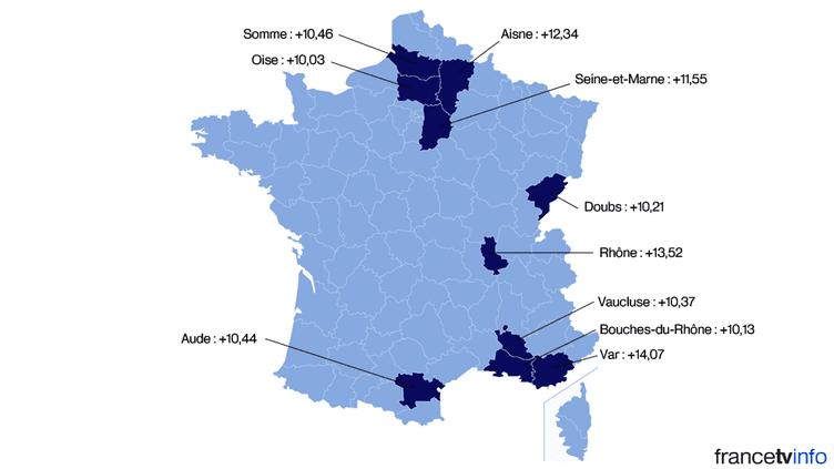 Les dix départements dans lesquels le FN a le plus progressé entre le premier tour de la présidentielle de 2012, et le premier tour des élections départementales de 2015. (FRANCETV INFO)