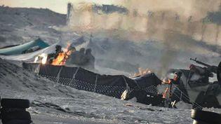 Une des rares photos parvenues sur les accrochages entre l'armée marocaine et des militants du Front Polisario à Guerguerat, près de la frontière avec la Mauritanie. Photo publiée le 13 novembre 2020 sur la page Facebook de l'armée marocaine. (- / ROYAL MOROCCAN ARMY FACEBOOK PAG)