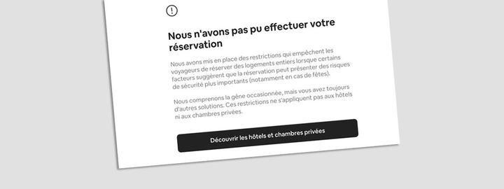 Exemple de message d'erreurenvoyé par Airbnb aux moins de 25 ans. (FRANCEINFO / RADIOFRANCE)