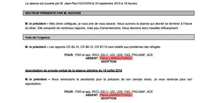 Extrait du procès-verbal de la séance plénière du24 septembre 2015 du conseil régional d'Ile-de-France. (FRANCETV INFO)