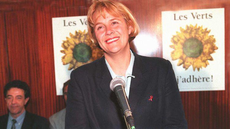 Dominique Voynet, alors porte-parole des Verts, en 1997. (GERARD FOUET / AFP)