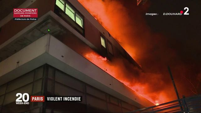 Paris : un violent incendie ravage une partie d'un immeuble du 19e arrondissement