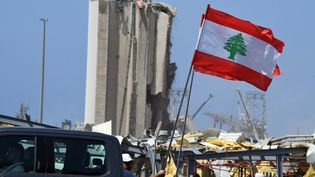Un manifestant porte un drapeau du Liban à Beyrouth, le 8 août 2020. (AFP)