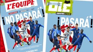 """Montage de la une de """"L'Equipe"""" et du détournement du journal argentin """"Olé"""", vendredi 29 juin. (L'EQUIPE / OLE)"""
