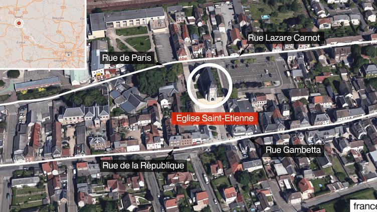 Une prise d'otages a eu lieu dans une église à Saint-Etienne-du-Rouvray (Seine-Maritime), le 26 juillet 2016. (FRANCETV INFO)