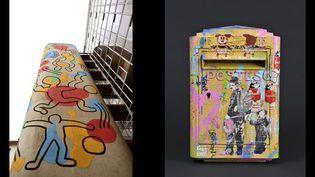 A gauche: fresque de Keith Haring à l'hôpital Necker, photo Emmanuel Attard, AP-HP. A droite: Boîte aux lettres par Mister Brainwash, photo Stéphane Maréchalle  (-)