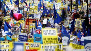 Des Britanniques manifestent pour demander un nouveau référendum sur le Brexit, le 23 mars 2019 à Londres. (HENRY NICHOLLS / X06612)