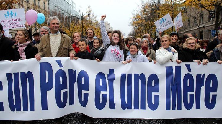 Manifestation anti-mariage des homos, samedi 17 novembre 2012 à Paris. (THOMAS SAMSON / AFP)