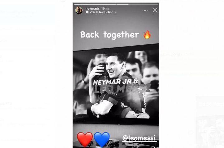 Le post de Neymar déposé sur son compt Instagram le 10 août 2021, annonçant l'arrivée de son ami Lionel Messi au PSG. (instagram neymarjr)