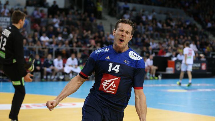 Kentin Mahé, l'ailier gauche de l'équipe de France, auteur de 13 buts à lui seul ! (CHARLY TRIBALLEAU / AFP)