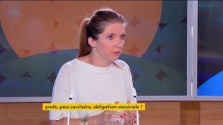 La députée LREM Aurore Bergé, mardi 7 septembre sur la chaîne franceinfo. (FRANCEINFO)
