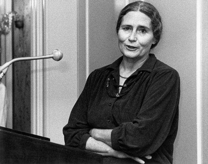 L'auteure britannique Doris Lessing, àFrancfort(Allemagne), le 14 octobre 1981. (ROLAND HOLSCHNEIDER / MAXPP)
