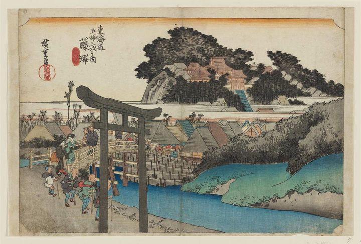 """Les 53 stations du Tokaido"": 6e étape, Fujisawa-Shuku (1833) d'Hiroshige. (CR)"