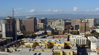 Vue aérienne de la Silicon Valley à San José, en Californie. (HELENE LABRIET-GROSS / AFP)