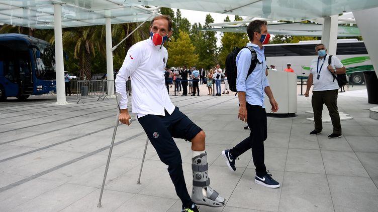 Thomas Tuchel a décrypté les forces de l'Atalanta Bergame à la veille du quart de finale de Ligue des Champions, à Lisbonne. (FRANCK FIFE / AFP)